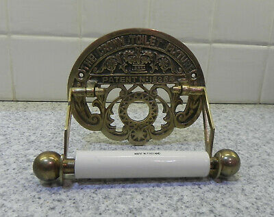 The Crown Toilet Fixture Brass/cream Ceramic toilet roll holder-victorian style