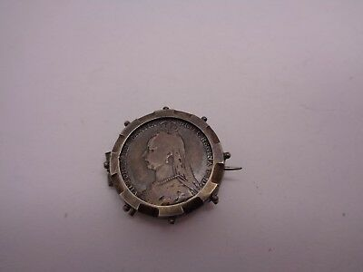 Victorian Sixpence Brooch With Silver Brooch Setting Queen Victoria