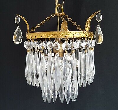 Vintage Gilt Brass & Crystal Glass Waterfall Chandelier Ceiling Light Shade