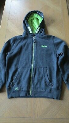 Next Boy's Top Age 9 Years Dark Grey & Lime Green Hoody Zip Up Hooded Top