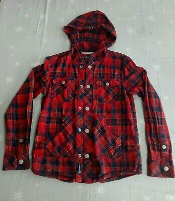 Boys Hooded checked Shirt, Age 9-10 Years, red blue cotton poppers Cheroke