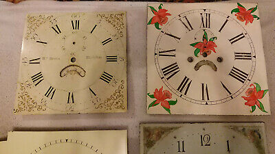 Antique Longcase Grandfather Clock Dials! X4