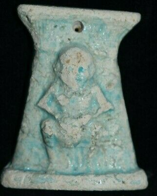 "Sale!! Egyptian Faience Bes Pendant 4"" Prov"