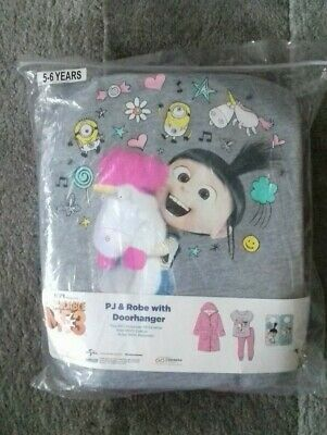 Girls Despicable me 3 Pyjamas and robe 5 6 Years new