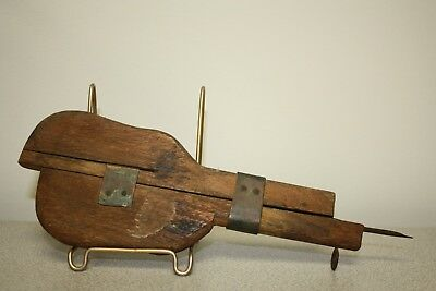Primitive Wooden Rug Shuttle Tool w/Metal and Copper - Hooking, Rug Making