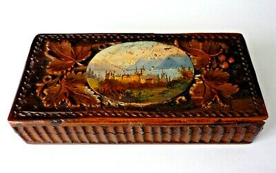 Rare Swiss Black Forest Carved Wooden Stamp Box Inset Handpainted Scene Original