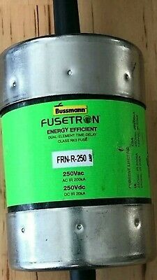 NEW, COOPER BUSSMAN, FUSETRON, FRN-R-250 FUSE ENERGY EFFICIENT 250VAC new in box