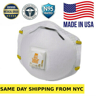 Box of 10 N95 8511 Masks Approved Particulate Respirator with cool valve