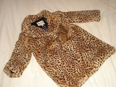 bnwt outfit kids girls faux fur leopard animal print coat age 5 years £40