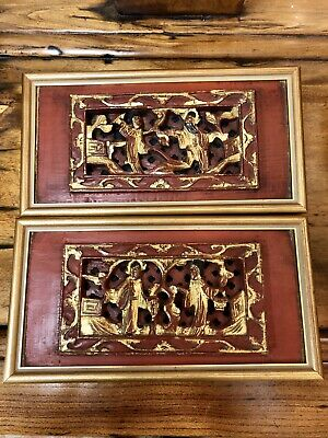 Antique Pair Of Chinese Carved & Pierced Painted Red & Gold Gilt Wood Panels