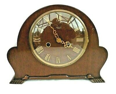 Vintage Wooden Cased Pendulum Mantel Clock Made By Smiths