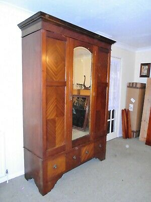 Edwardian Mahogany Three Section Wardrobe