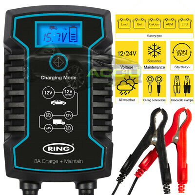 Ring RSC808 12v 24v 8A Car Truck Start / Stop Smart Battery Charger & Maintainer