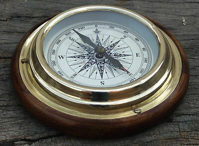 Antique Brass Sailing Ship//Boat Gimble Compass Magnifying//Magnetic//Navigational
