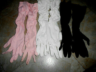 Antique Lot Of 3  Women's Dress/Opera Gloves Long Black/White/Pink Must See