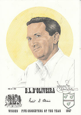 BASIL D'OLIVEIRA, ENGLAND, CRICKET **SIGNED AND NUMBERED PRINT 12 x 8 INCH