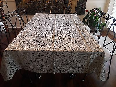 Vintage  Hand Embroidered  Italian Linen Tablecloth + 12 Napkins  NEVER USED