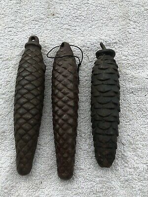 Vintage 3 Pcs Cuckoo Clock  Weight Pine Cone - Antique Clock's Parts
