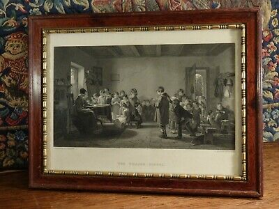 An Edwardian Antique Mahogany Framed * The Village School * Engraving, H.Bourne