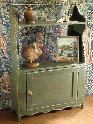 "AN ANTIQUE NAIVE * FOLK ART * GREEN PAINTED WALL SHELF / CUPBOARD 15""w x 22""h"