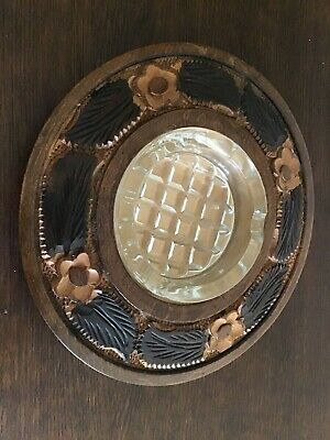 Glass Ashtray cased in a wooden surround hand carved with floral and leaves