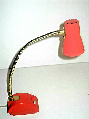 Vintage Mid-Century Imar-Flex Desk Lamp Light CORAL COLOR Gold Gooseneck NICE