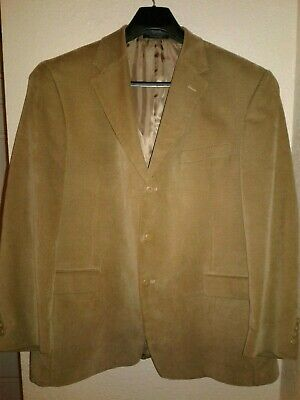 Geoffrey Beene Men 46R Brown Corduroy Sport Coat 3 Button Jacket Cotton Blazer