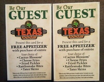 2 Texas Roadhouse Free Appetizer Gift Card/ Physical Card/Fast Shipping/12/30/20