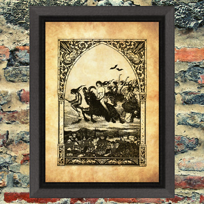 Witches Flying Sabbath Occult Art Print Antique Effect Paper Buy 2 Get 1 Free
