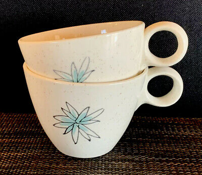 VINTAGE Set 2 Mid Century Modern MCM Atomic Starburst Speckled Coffee/Tea Cups