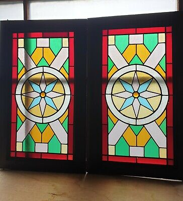 Pair of Antique Reclaimed Cabinet Doors Stained Glass Window Panel