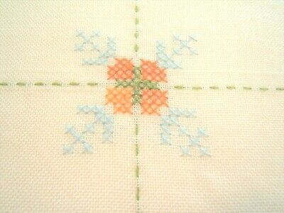 """VINTAGE hand embroidered cross-stitch cotton tablecloth 53"""" x 71"""" + 3/4"""" fringe"""