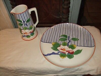 TIFFANY & CO X-Large Vintage Floral Tray & Jug Hand Painted By Este  Italy