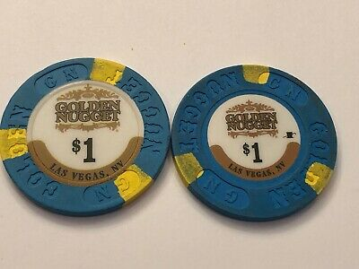$1.00 Golden  Nugget Hotel Casino Chips  Las Vegas  Large & Small Inlay