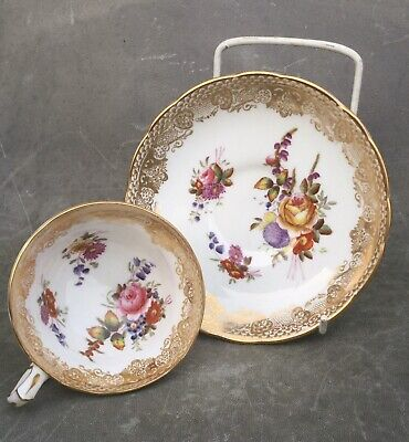 Hammersley & Co Longton Queen Anne Cabinet Cup & Saucer Hand Painted and gilded