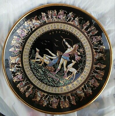 Special Fintias 24k GOLD Black Hand Made Hanging Decorative Plate Made in Greece