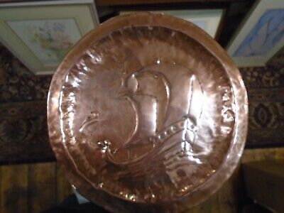 (NEWLYN) ?? ARTS & CRAFTS HAMMERED COPPER TRAY Boat image
