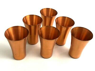 Set of 6 West Bend solid Copper mid century modern flared tumblers cups