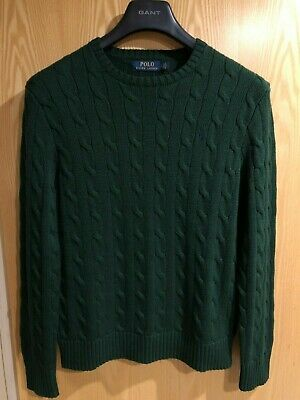 Polo Ralph Lauren Crew Neck Cotton Cable Knitted Jumper Green Sweater - Small S