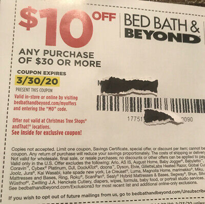 Bed Bath Beyond Coupon  $10 off  $30 Exp 3-30-20 MSG Code Or Fast Shipping!