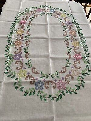 Vintage Hand Embroidered Cross Stitch Natural Linen Floral Tablecloth Size 65x50