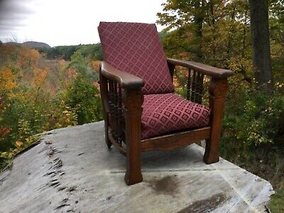 Antique oak Child's size / salesman sample Morris chair Carved w/ Claw feet ~old