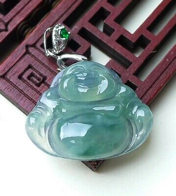 飘花 Icy Green Jade Jadeite Pendant Necklace Handcarved Happy Buddha