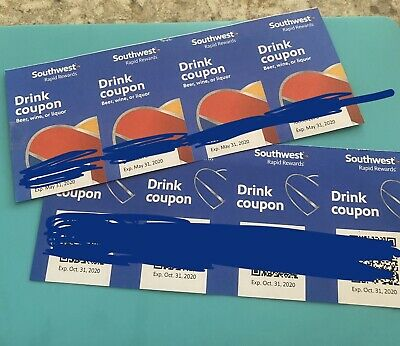 Eight (8) SOUTHWEST Drink Coupons / EXPIRE 03/2020 &10/2020.