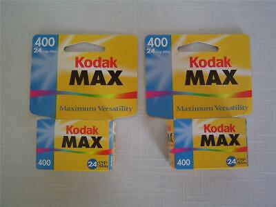 2Sealed Rolls Kodak Max Versatility 24Exposure 400 Color Print Film 35mm Expired