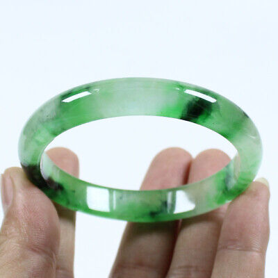 60mm Chinese Beautiful New Ice Green Emerald Jade Jadeite Bangle Bracelet j457