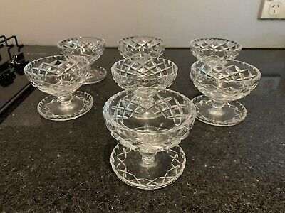Antique Crystal Desert Bowls With Tray Attached 7 In Total