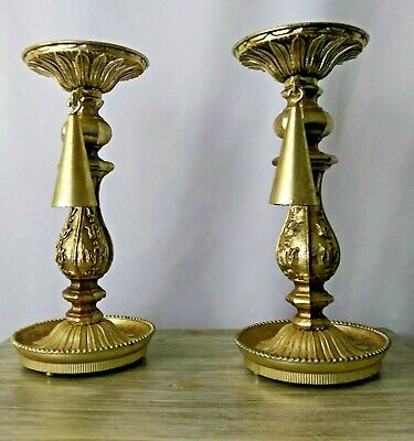 Vintage Villy Brass Gold Plated Candlesticks With Flame Snuffers Ornate 9 Inches
