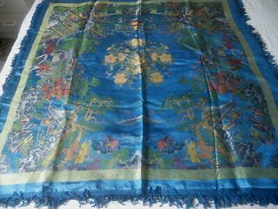 Early Vintage Chinese Scenes Brocaded Flowers Silky Piano Shawl 96 X 96 Cm