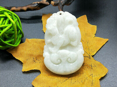 Chinese hand carved delicate natural Burmese jade zodiac dog pendant 12-11